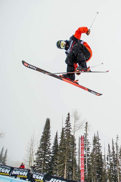 Aaron Blunck on his second hit of his first run in the qualifiers for men's ski superpipe on Wednesday in Snowmass for the U.S. Grand Prix. Blunck ranked first overall in the qualifiers and will compete in finals on Friday.