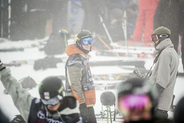 Local Aspen superpipe skier Alex Ferreira waiting after the course closure due to weather after his first run in men's ski superpipe on Wednesday in Snowmass for the U.S. Grand Prix. Ferreira took third place in the qualifiers and will compete in finals on Friday.