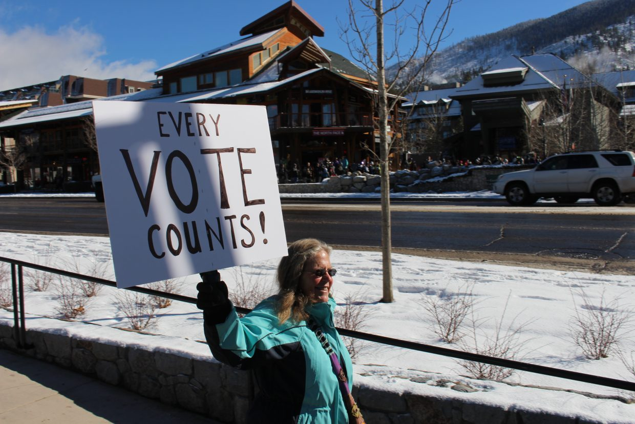 Getting more women voting and running for office was a common theme at the march.