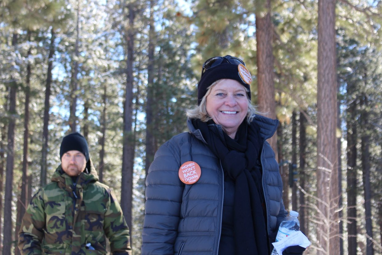 El Dorado County District 5 Supervisor Sue Novasel spoke at the end of the march, along with South Lake Tahoe Mayor Wendy David.