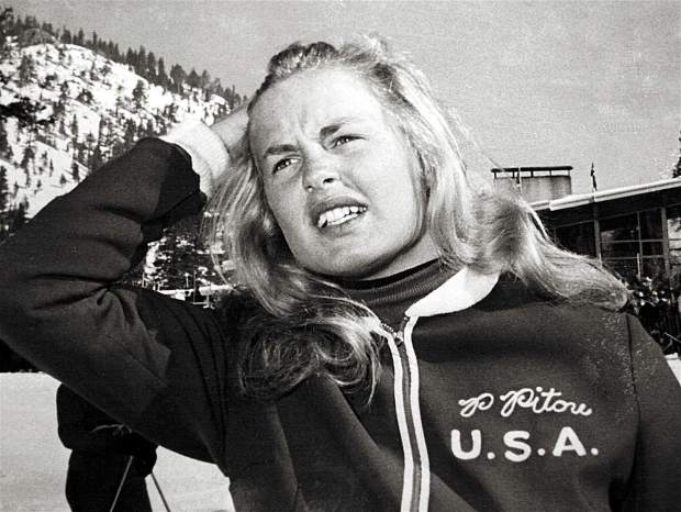 U.S. alpine racer Penny Pitou grimaces after missing the gold medal by 1.1 seconds.