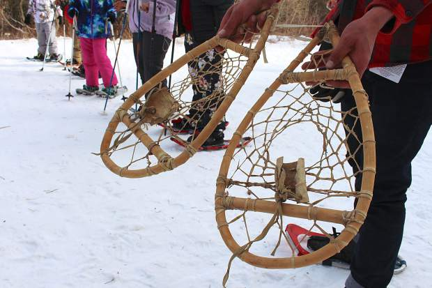 Prior to the Washoe youth snowshoe outing, the students crafted their own pairs.