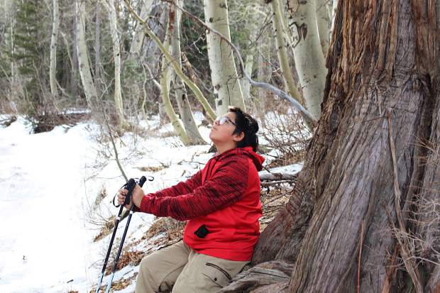 The Washoe youth identified trees and other plants as they snowshoed on the outskirts of Hope Valley.