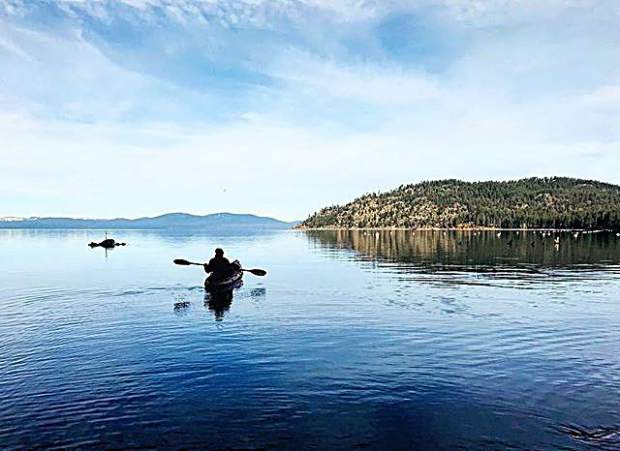 Kayaking on Lake Tahoe in June — I mean, January. It's hard to tell the difference at the moment.