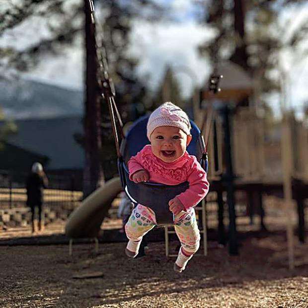 Laila went in the swing for her first time and loved it!