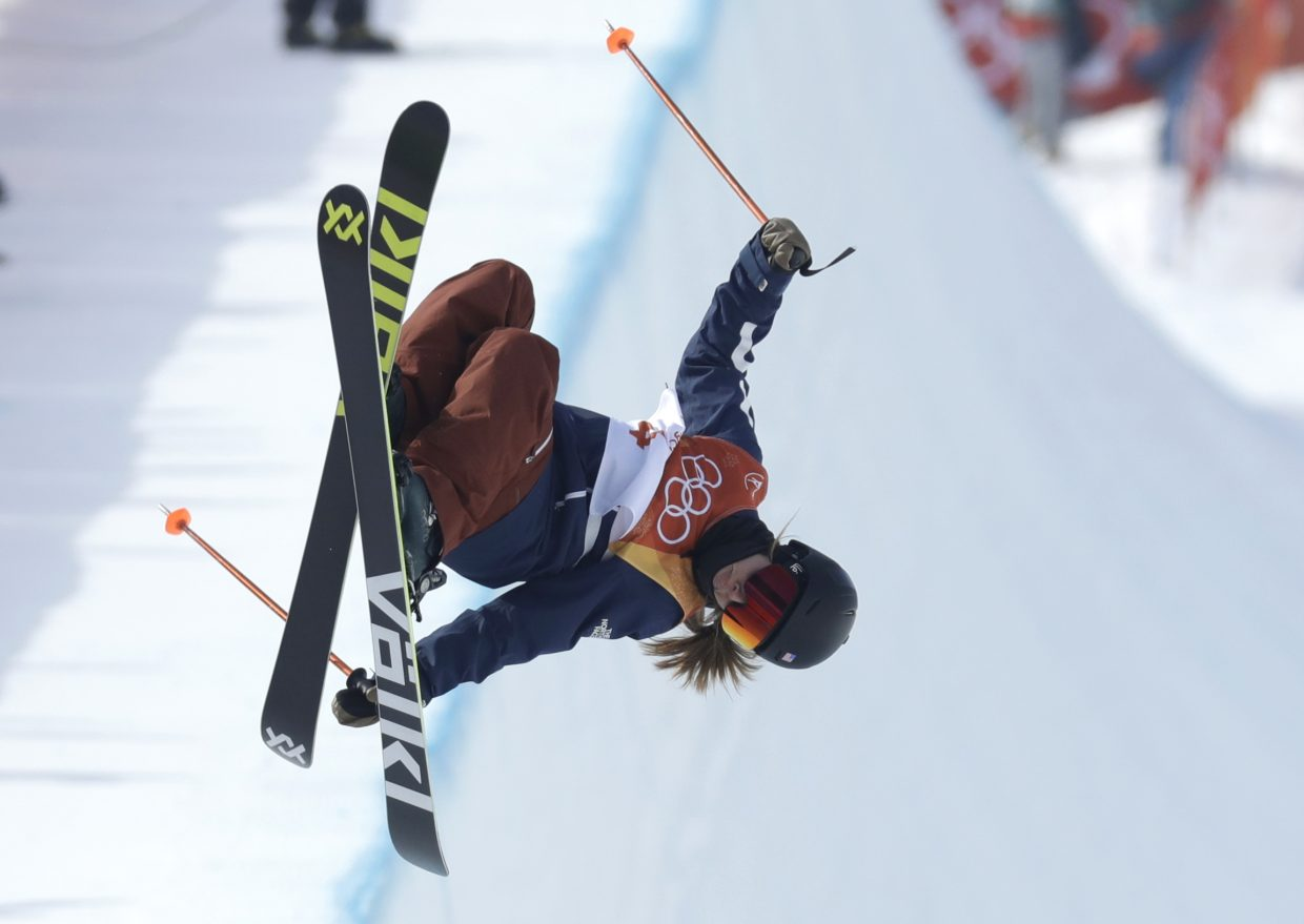 Maddie Bowman, of the United States, jumps during the women's halfpipe final at Phoenix Snow Park at the 2018 Winter Olympics in Pyeongchang, South Korea, Tuesday, Feb. 20, 2018.