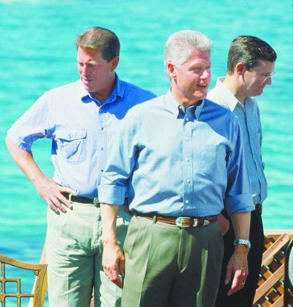 <b> / Dan Thrift / Tribune file photo</b>Then-President Bill Clinton, center, joined by Vice President Al Gore, left, and Rep. John Doolittle, visits Lake Tahoe for the first Presidential Forum in 1997.