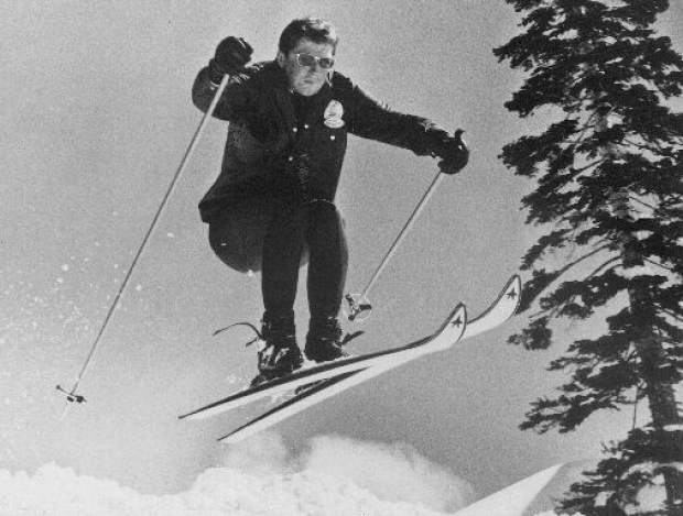 Provided by Jim Havens/Heavenly Sports A natural athlete, Gov. Ronald Reagan catches some air skiing February 1968 at Heavenly Valley.