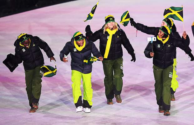 The Jamacian team enters the 2018 Winter Olympics Opening Ceremonies in Pyeongchang, South Korea.