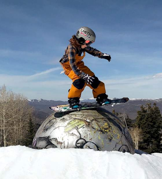 Luke Leal, 10, freestyles on his snowboard.