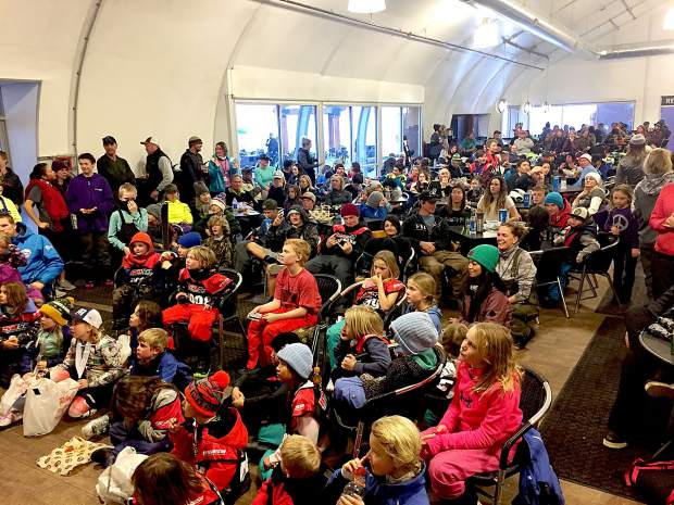 Athletes gather for the awards ceremony Sunday, Jan. 28, at Sierra-at-Tahoe.