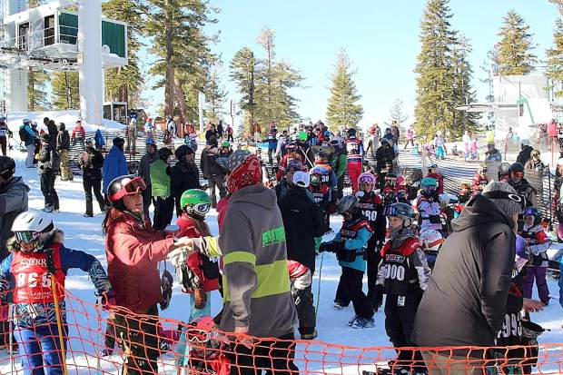 Competitors gather Sunday, Jan. 28, for the skier boardercross at Sierra-at-Tahoe.