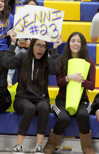 Fans hold a sign of support Tuesay, Feb. 7, for South Tahoe senior Jenni Martinez.
