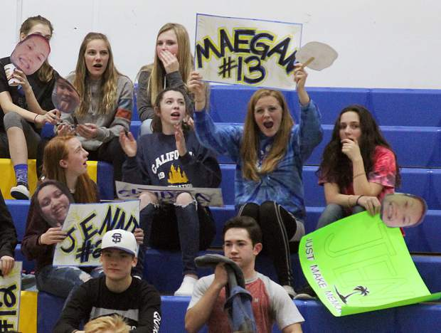 Fans show support for South Tahoe's Maegan Perez Tuesday, Feb. 7, on senior night.