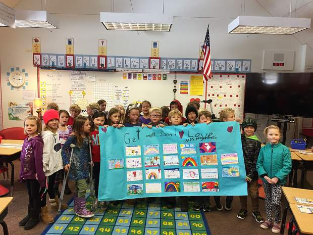 The second grade classmates of Marty Boline's son, Dylan, at Glenshire Elementary created a