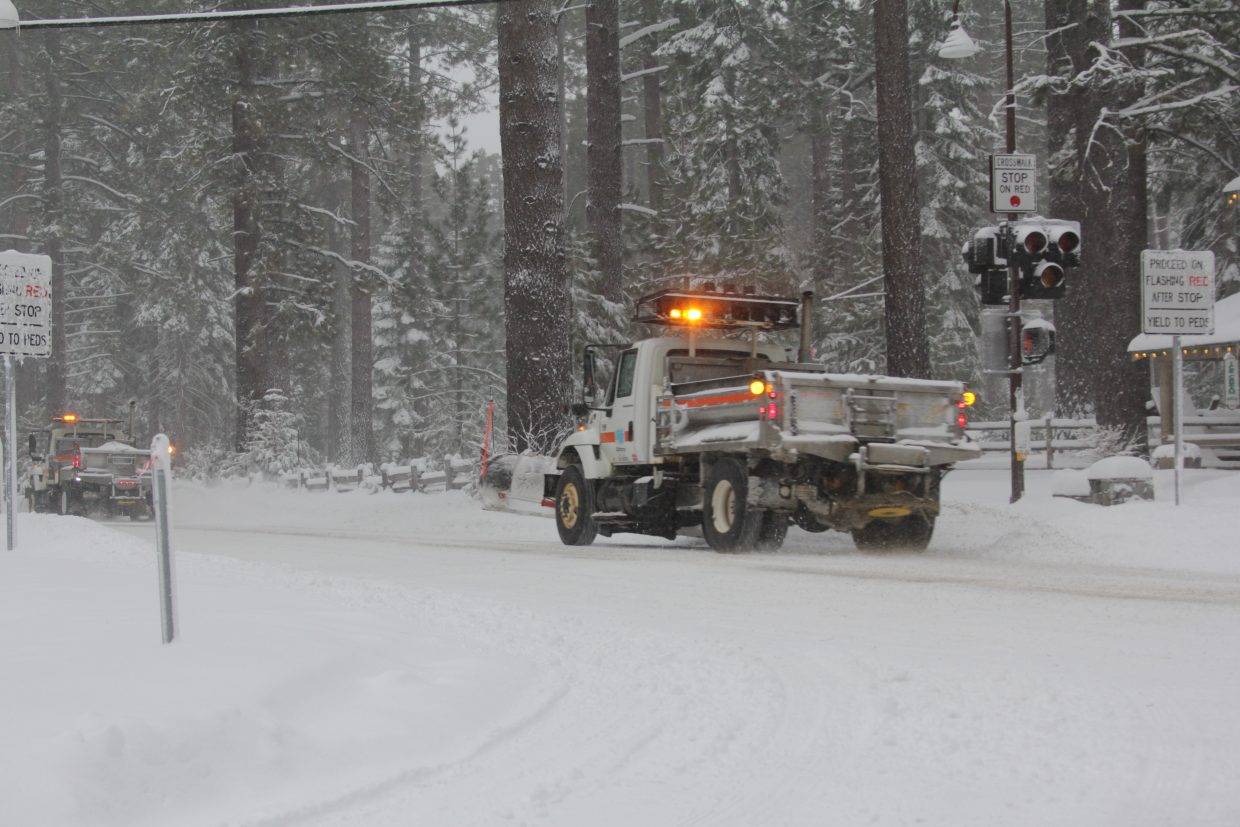 Craltrans crews worked to clear Highway 89 of snow on Thursday.