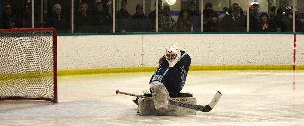 Icemen goalie Max Hasselbacher deflects a Bellingham shot from long range Friday night.