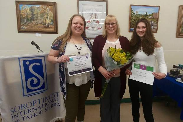 On Thursday, March 8, the Soroptimist International of Tahoe Sierra presented Nicole Kruczynski with the Live Your Dream Award, Jeanne Nelson with the Ruby Award, and Catherine Yohnka with the Violet Richardson Award.