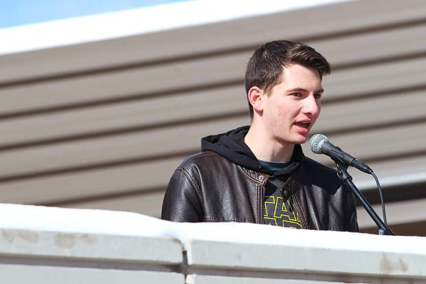 Tevan Martorana gives a speech at the student walkout at South Tahoe High School.