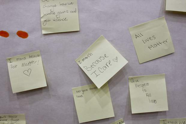 South Tahoe High School students posted reasons why they walked out on a banner hung in the gym.