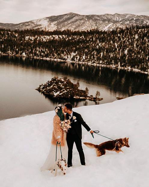 Eloping in the mountains, overlooking Lake Tahoe, with your pups + peach flowers + fur coats + the sweetest love story — is ALWAYS a good idea.