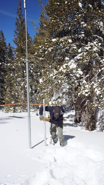 Jeff Anderson, hydrologist for the Natural Resource Conservation Service, measures the snowpack with a special tool.