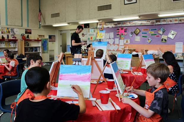 All students at Tahoe Valley Elementary are getting the opportunity to participate in two-hour painting sessions taught by artist Craig Newman.
