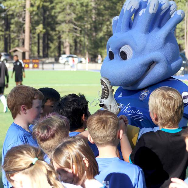 Reno 1868 Football Club's mascot Truckee entrained kids and signed autographs Tuesday, April 24, after a soccer clinic hosted by the professional team.