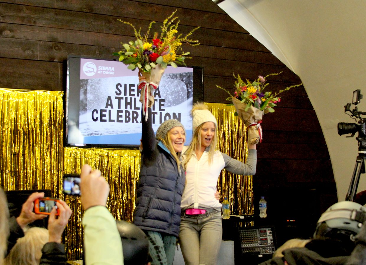 Shore Shore Olympians Jamie Anderson (left) and Hannah Teter were honored Saturday, Aoril 7, at Sierra-at-Tahoe.
