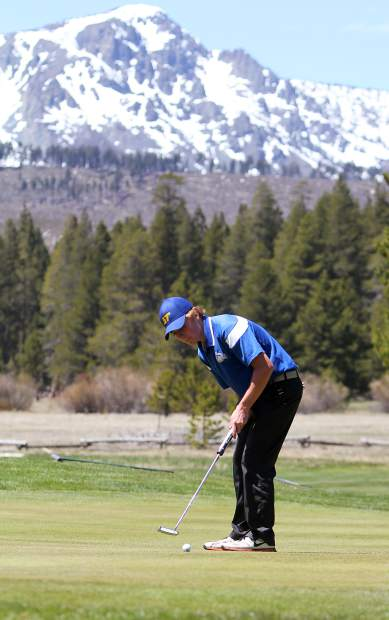 South Tahoe senior Mickey Sullivan putts on Wednesday, May 2, at Lake Tahoe Golf Course during Northern League meet.