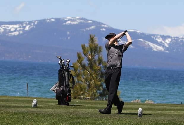 Incline's Ezra Brigham tees off on hole No. 17 Thursday, May 3, at Edgewood Tahoe Golf Course.