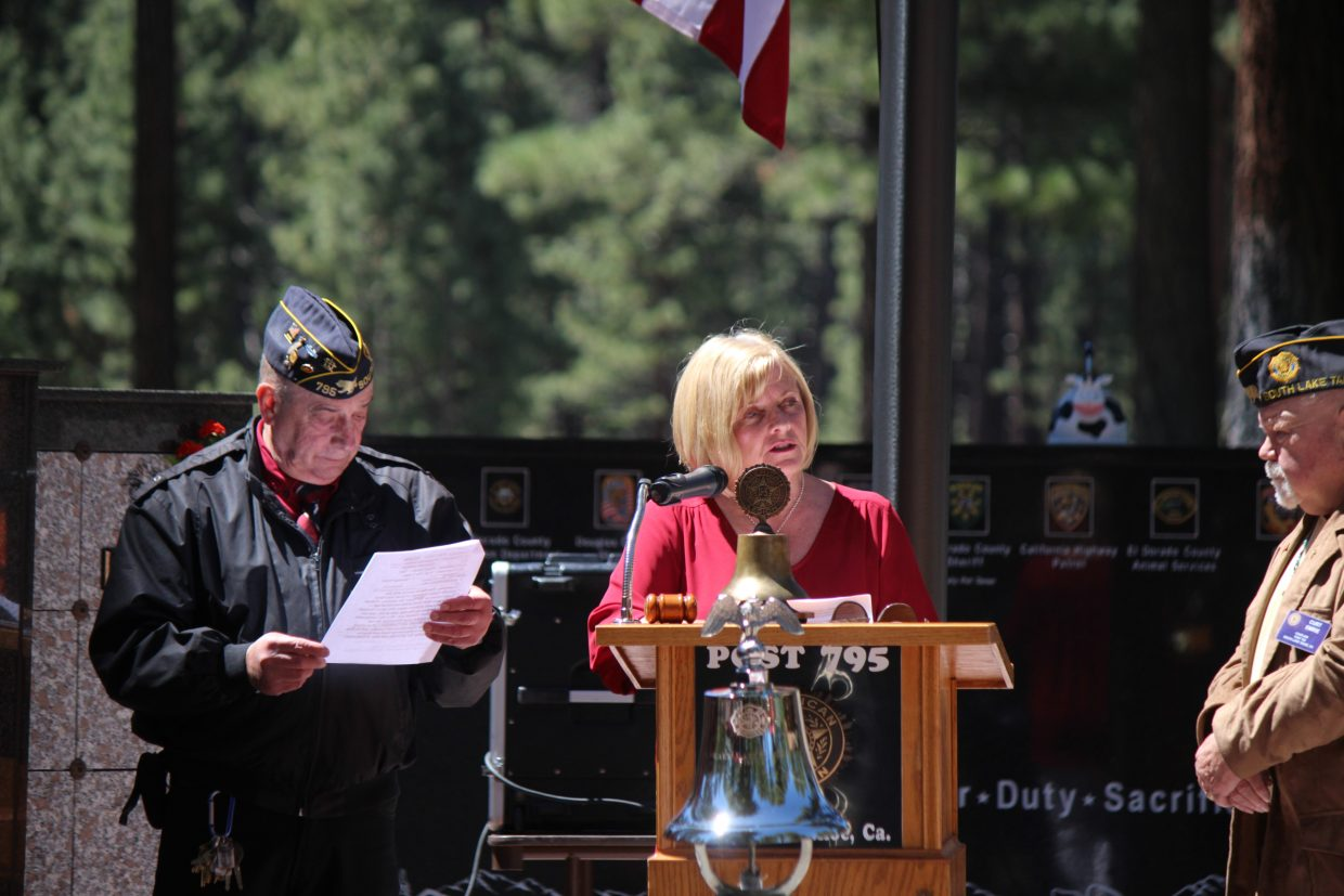 South Lake Tahoe Mayor Wendy David speaks during a Memorial Day ceremony at Happy Homestead Cemetery Monday, May 28.