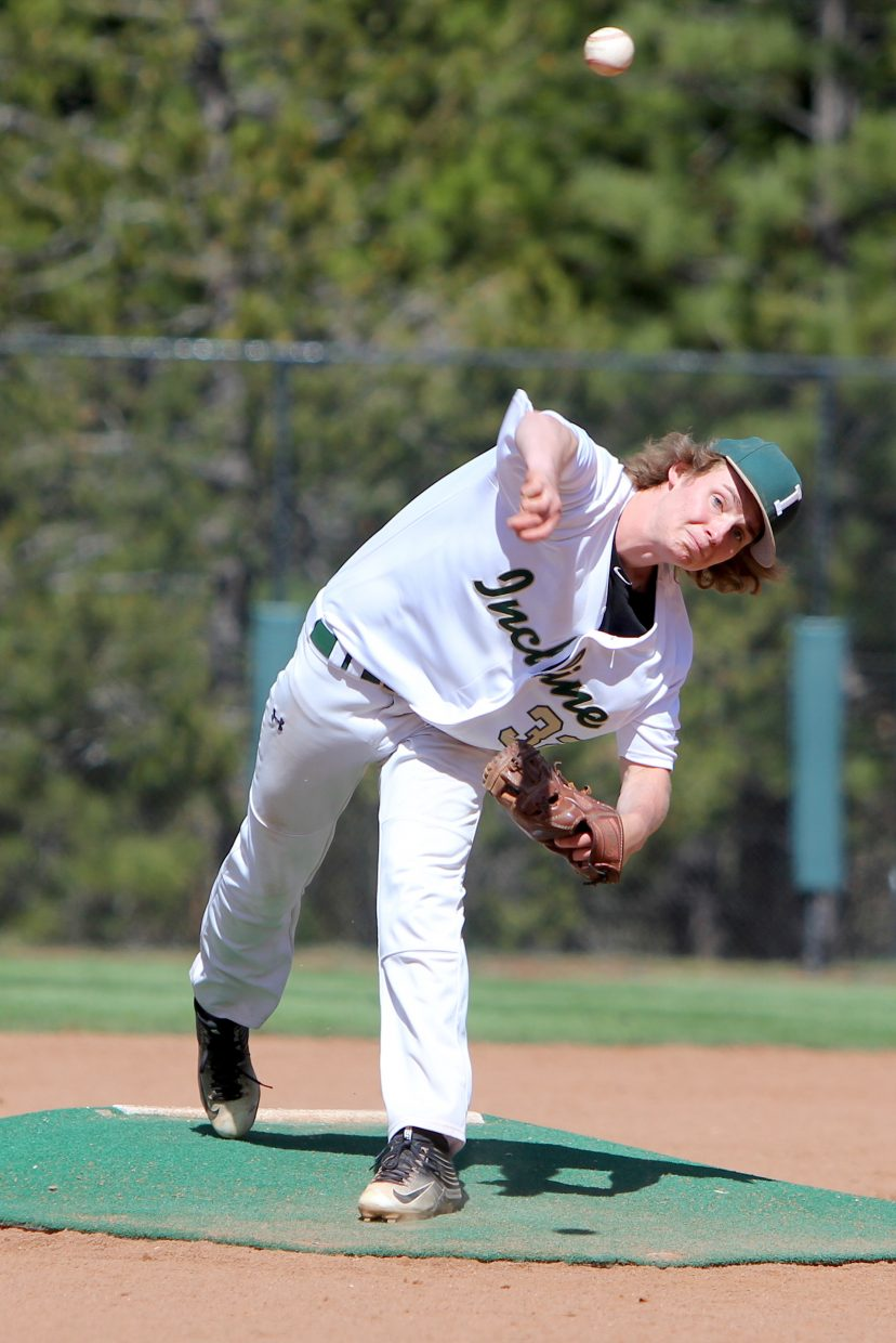Incline senior Tristan Summers delivers a blazing fastball Friday against Battle Mountain.