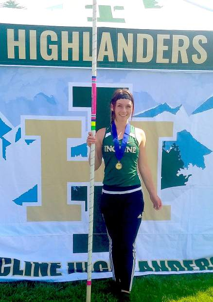 Incline senior Belle Johnson won the pole vault event at the regional meet to qualify for state.