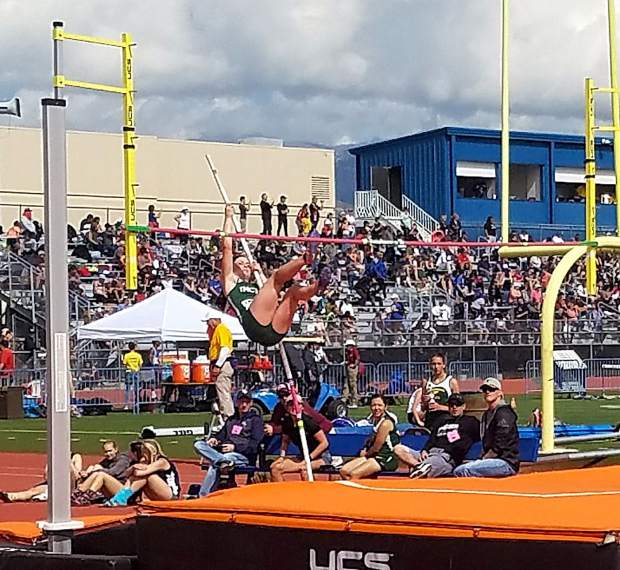 Incline senior Belle Johnson competes in the pole vault at the state track and field championships in Carson City, Nevada.