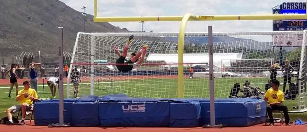 Incline's DJ Littleton competes in the high jump at the state championships in Carson City, Nevada.