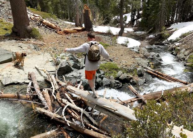 South Lake Tahoe's Kevin Virgil traverses the log crossing on the hike back from Susie Lake.