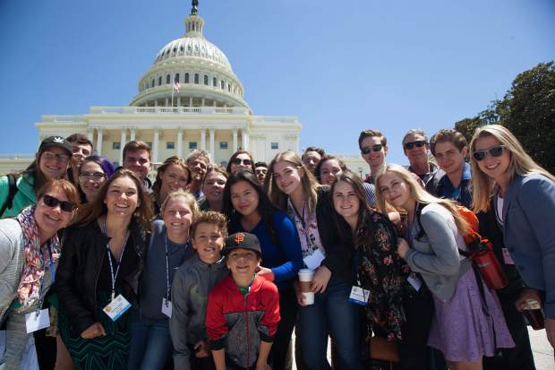 "The Incline Village High School ""We the People"" team poses for a photo outside the U. S. Capitol."