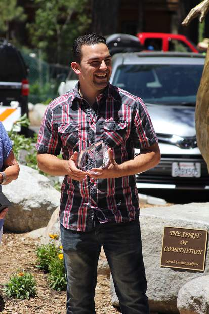 South Lake Tahoe's Travis Cabral is all smiles at the induction ceremony.