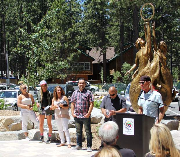 South Lake Tahoe's Glen Plake gave a funny speech during the induction ceremony.