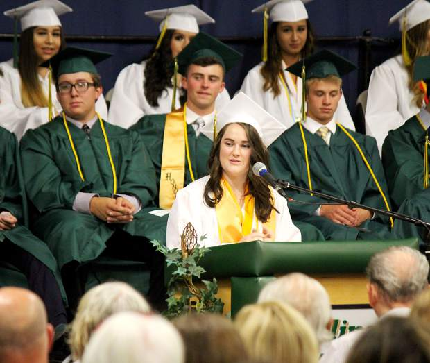 Incline salutatorian Rachael Homola speaks during graduation in 2018. Graduations will look a lot different this year.