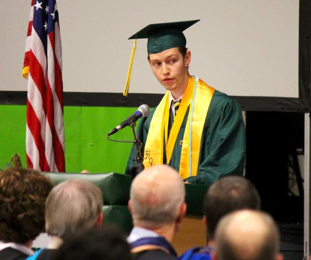 Incline's 2018 Valedictorian Colin Drewes speaks during graduation.