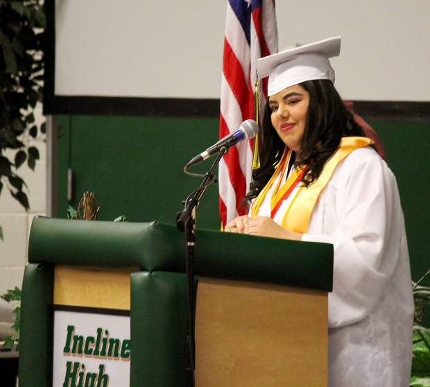 Incline class of 2018 vice president Mitzy Cruz introduces the faculty, board memebrs and special guests.