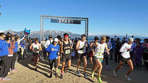 Runners begin the DeCelle Memorial Lake Tahoe Relay race last year.
