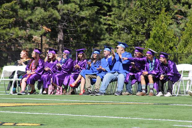 Students cheer for presenters at the Mt. Tallac Continuation High School and Transitional Learning Center graduation.