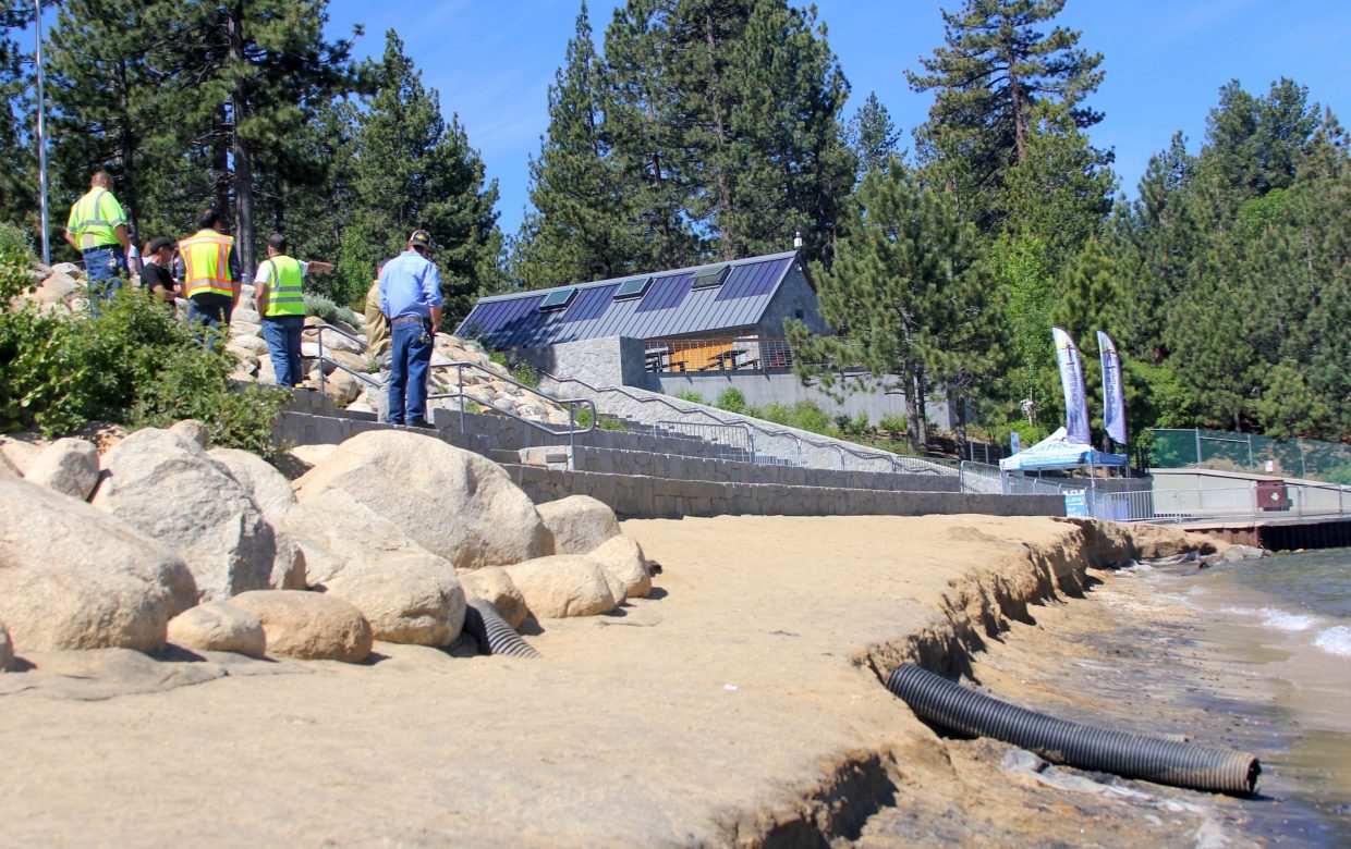 City of South Lake Tahoe personnel discuss options to fix erosion at Lakeview Commons beach.