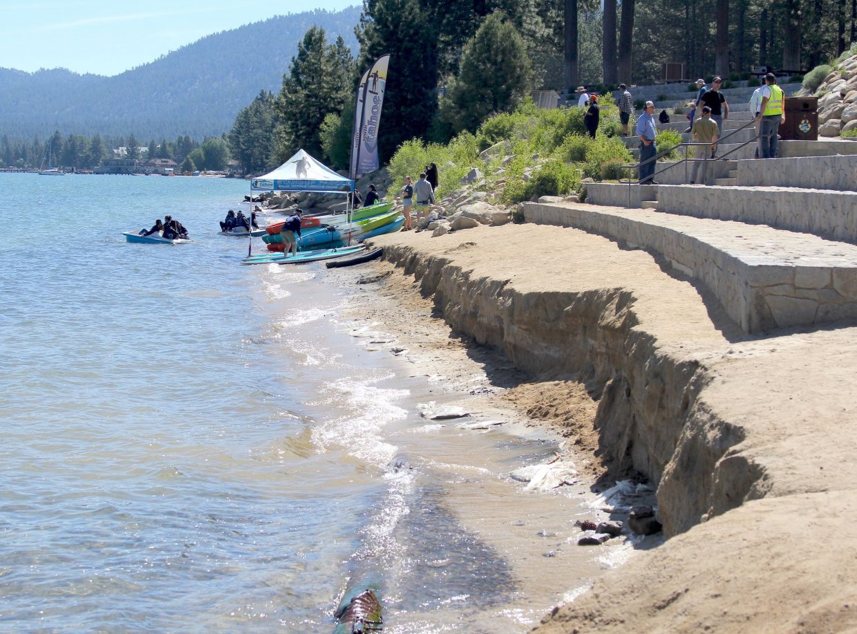 Weekend winds on Friday and Saturday, June 15-16, caused the beach at Lakeview Commons to erode.