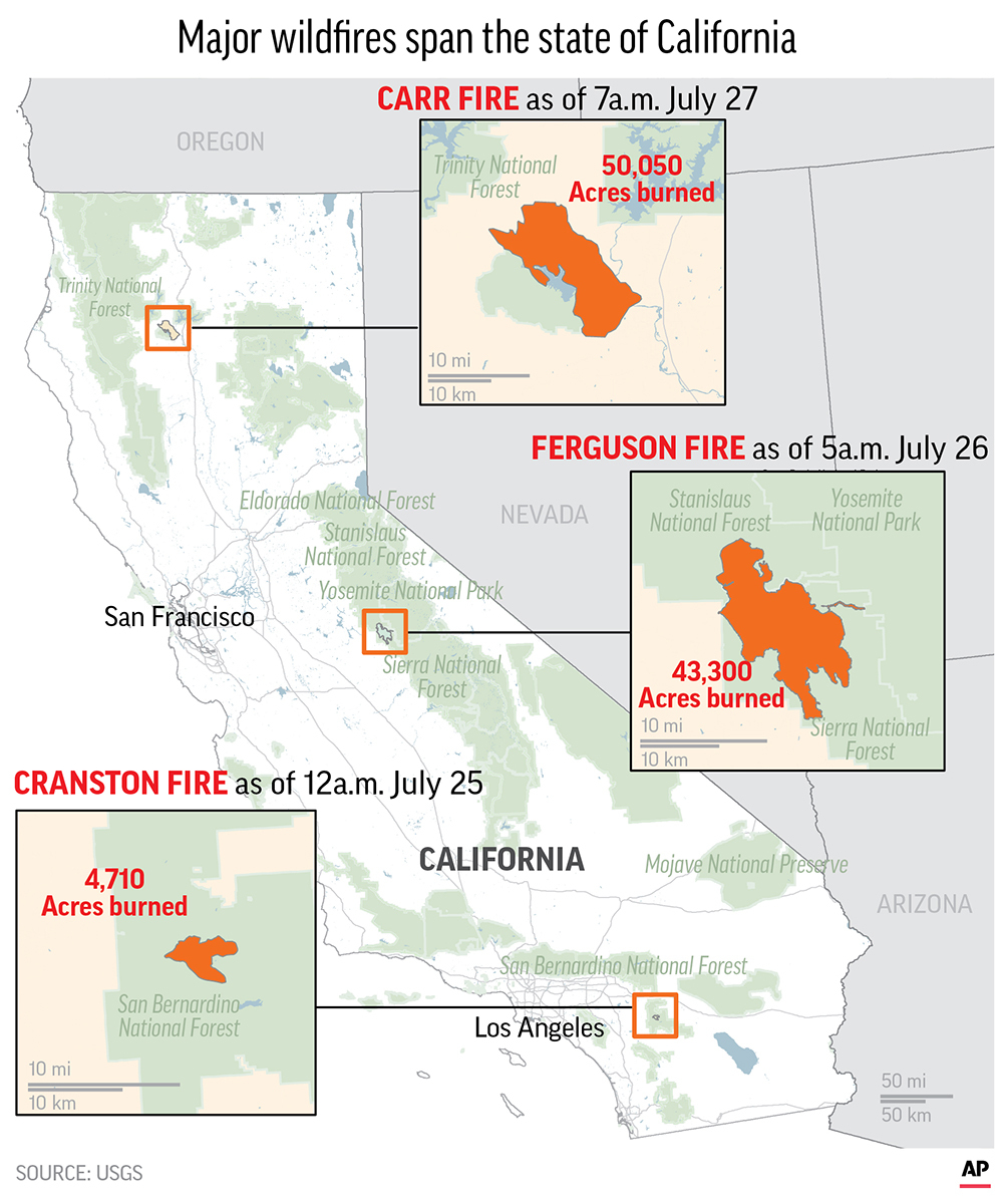 Graphic shows the latest spread of three major California wildfires.