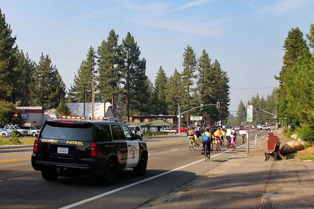 A California Highway Patrol car began escorting the group shortly after they started biking. There were some traffic delays on U.S. 50 as a result.