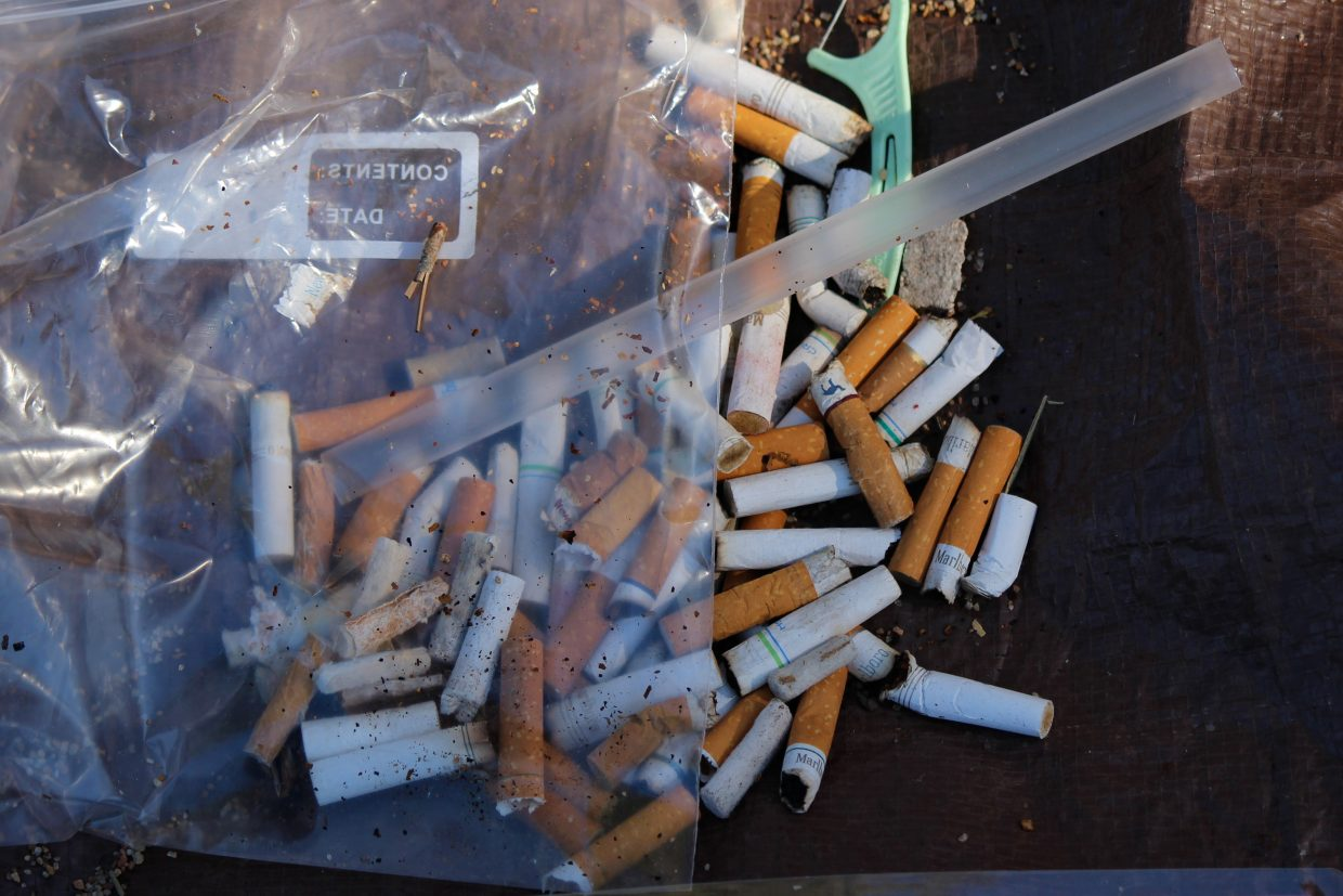 Cigarette butts are one of the most common items found, and can contain toxins like heavy metals.